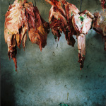 Bismillahi Butchery, camel meat hanging, Ngurunit, Kenya, 2006