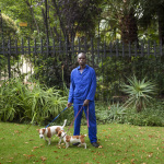 Dennis with Goldie and Daisy, Lystandwold Road, Saxonwold, Johannesburg, South Africa, 2014